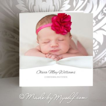 Custom Photo Christening Invitation (with Printed Ribbon)